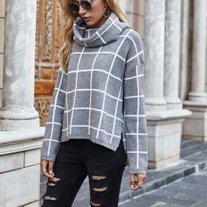 Grid pattern Hugh neck sweater